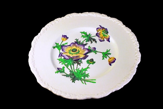 Dinner Plate, Cauldon, England,  Floral Pattern, Embossed, Large