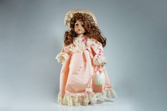 Porcelain Doll, Dan Dee Collector's Choice, Victorian, Pink Dress, 16 Inch, Bisque Porcelain, Doll Stand Included, Display Doll, Collectible