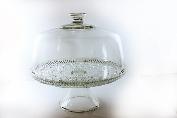 Covered Cake Stand, Federal Glass, Windsor Pattern, Button and Cane Design, Punch Bowl, Dessert Stand
