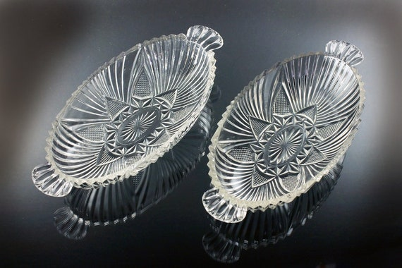 Oval Handled Olive Bowls, Hazel Atlas, Relish Tray, Set of 2, Fan and Triangle Pattern, Pressed Glass, Clear Glass