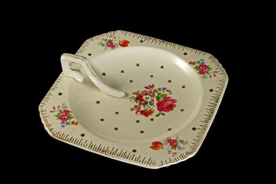 Square Lemon Dish, Lemon Tray, Tray With Top Handle, Floral and Star Design, Made in Japan