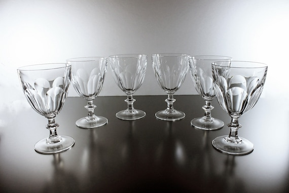 Crystal Water Goblets, Cristal D'Arques-Durand, Rambouillet, Set of 6, Water Glasses, Paneled Sides, Discontinued, Barware