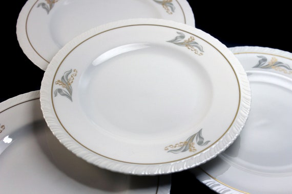 Salad Plates, Hanover Fine China, Enchantment, Lily of the Valley, Set of 4