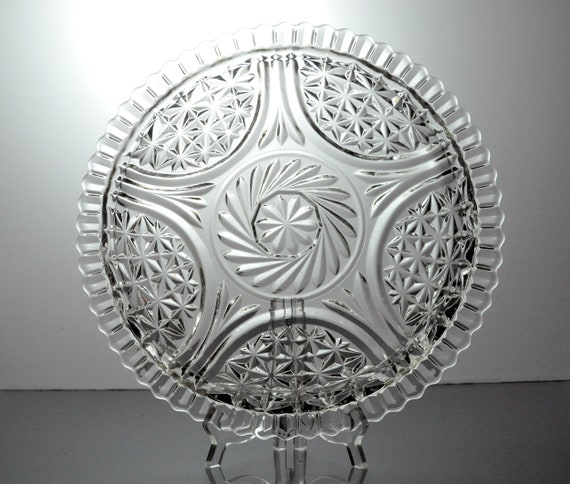 Anchor Hocking Sandwich Plate, Stars and Bars, Star and Arch, Clear Pressed Round Glass, 12 inch
