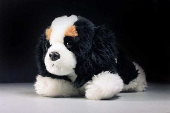 Plush Dog, Aurora, Flopsie, Cavalier King Charles Spaniel, Black Brown and White, Stuffed Animal, Small Plush Dog, Puppy Dog
