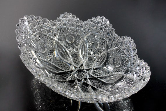 Antique Hawkes American Brilliant, Crystal Banana Bowl, Newport Pattern, Hobstars and Cane, Unsigned