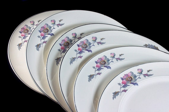 Dinner Plates, Symphony by Salem, Platinum Gold, Floral Pattern, Set of 6, Porcelain