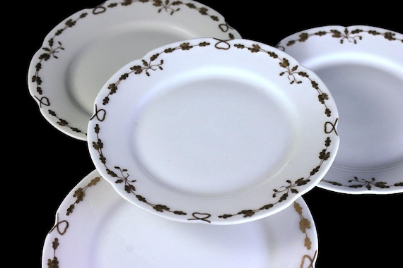 Antique Bread and Butter Plates, Old Abbey, Limoges France, Latrille Freres, Raised Gold, Hand Painted, Set of 4, Rare, Hard to Find