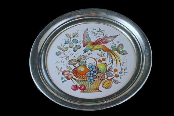 Trivet, Ceramic Center, Aluminum Rim, Cork Backing, Bird of Paradise Design, Round Trivet