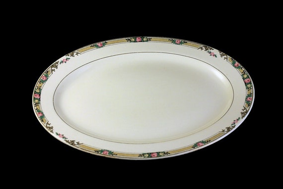 11 Inch Platter, Mount Clements, Floral Band, Pink Rose, Fine China