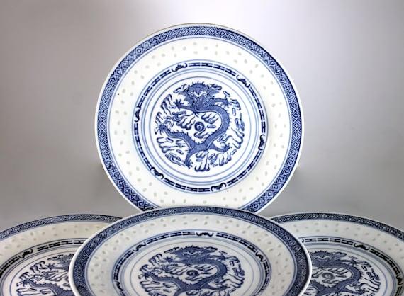 Dinner Plates, Zhongguo Jingdezhen, Dragon Center, Blue and White, Porcelain, Set of 4