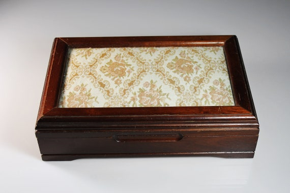 Wood and Tapestry Jewelry Box, Cream Colored Lined Compartments, Large Mirror, Hardwood, Cherry Finish