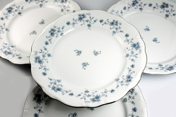 Dinner Plates, Johann Haviland, Blue Garland, Mixed Backstamps, Floral Pattern, Set of Four, Fine China, Discontinued