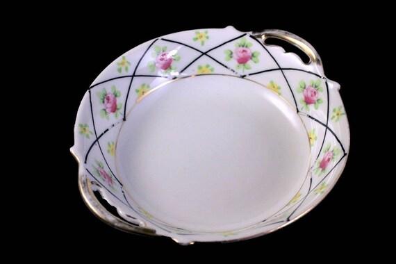 Antique Porcelain Nippon Bowl, Rising Sun Mark, Hand Painted Floral Pattern, Gold Trim,  Trinket Bowl, Vanity Bowl, Candy Bowl, Nut Dish