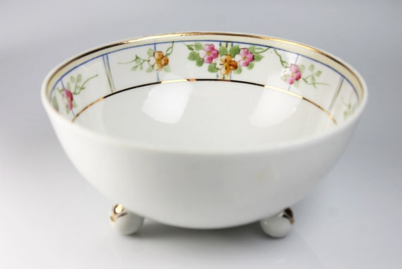 Antique Nippon, Mayonnaise Bowl, Footed Bowl, Hand Painted, Floral Pattern, Sauce Bowl, Rice Bowl