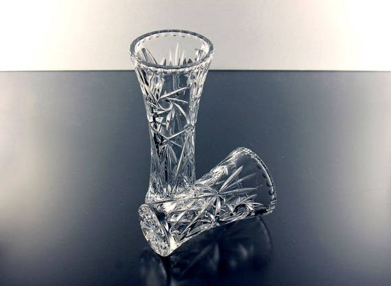 Crystal Flower Vase, Lenox, Crystal Star, Heavy Pressed Glass, Clear Glass, Star and Fan Design, Giftware, Set of 2