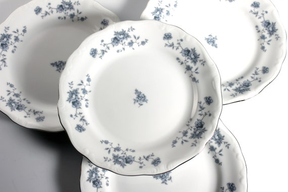 Bread and Butter Plates, Johann Haviland, Blue Garland, Traditions, Floral Pattern, Set of Four, Fine China