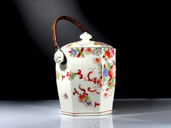 Biscuit Jar, Made in Japan, Hand Painted, Gold Trimmed, 8 Sided, Floral Design, Centerpiece, Cookie Jar