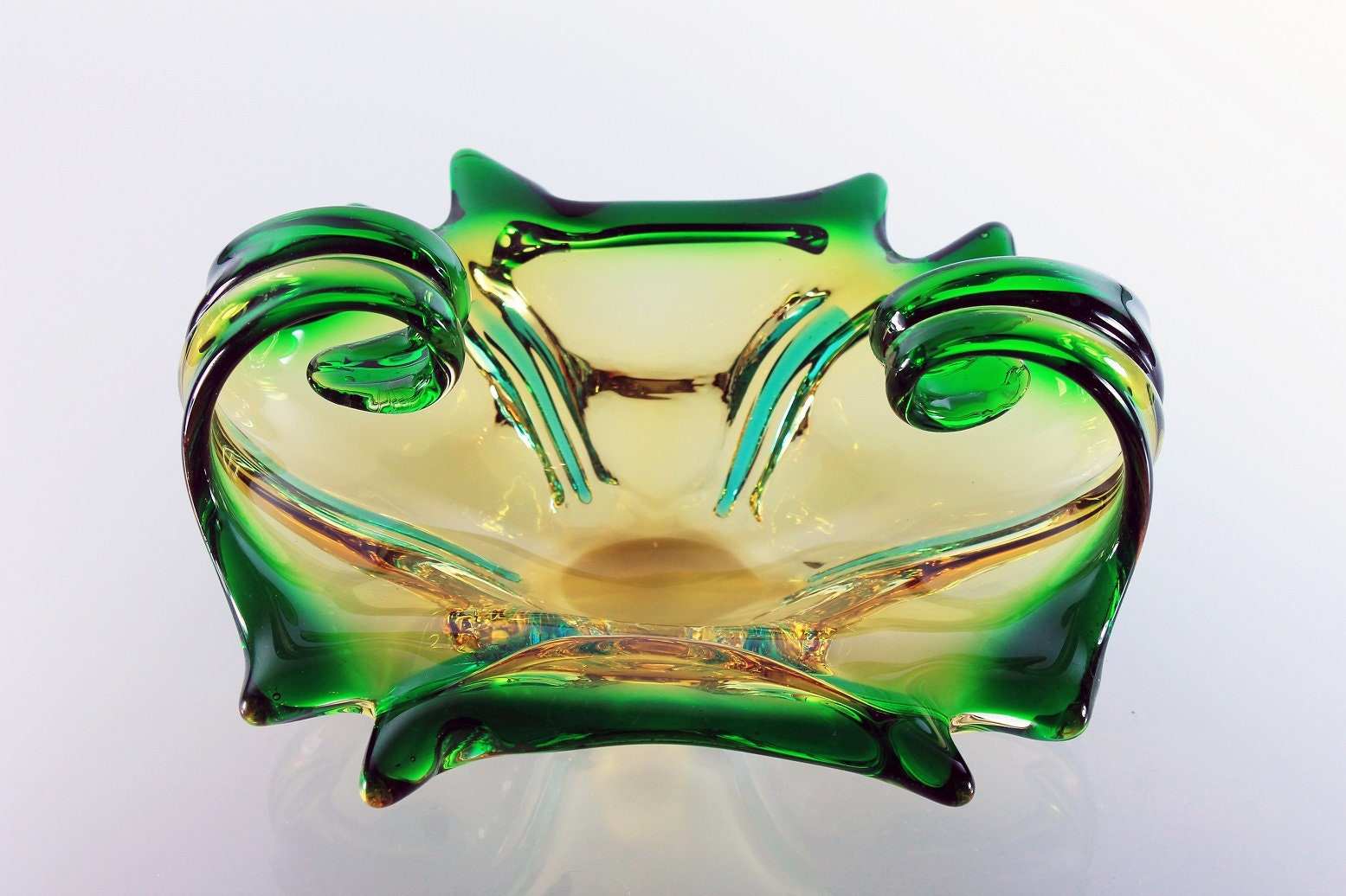 Art Glass Bowl, Display Bowl, Murano Style, Green and Gold