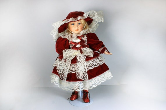 Collectible Porcelain Doll, The Angelina Collection, 16 inch Doll, Display Doll, Stand Included, Red Velvet and Lace, 1998