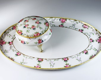 Antique Nippon Vanity Set, Morimura Brothers, Vanity Tray and Powder Box, Porcelain, Gold Gilt, Hand Painted