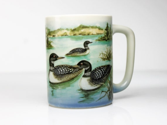 Otagiri Loon Mug, Hand Painted, Coffee Cup, Tea Mug, Hot Chocolate Mug, Collectible, Giftware