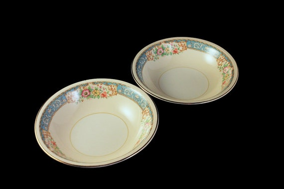 Fruit Bowls, Homer Laughlin, Blue Dawn, Eggshell Nautilus, Set of 2, Blue Border, Floral Pattern, Fine China