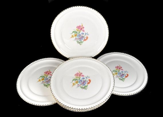 Dinner Plates, Harker Pottery Co, Set of 6, Floral Center, 22K Gold Trim, Fine China