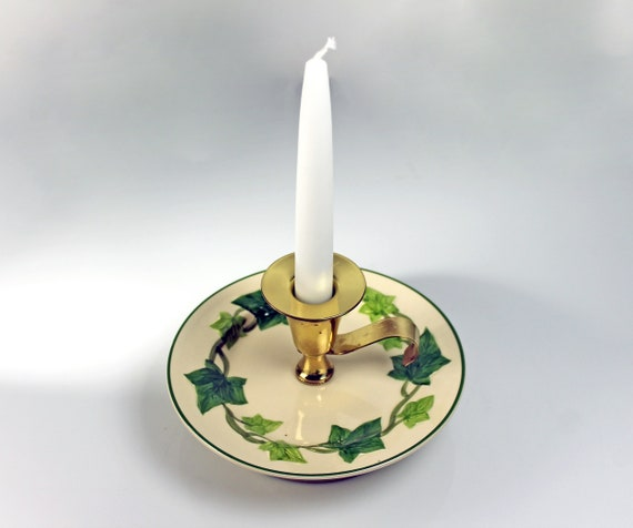 Finger Loop Candle Holder, Franciscan California, Ivy, White Taper Candle Included, Gold-Tone Metal