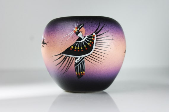 Small Native American Vase, Southwest Indian Design, Round Vase, 3 Inch, Purple and Black