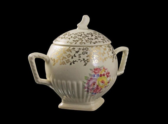 Covered Footed Sugar Bowl, Shell Krest, Royal USA, Rose Pattern, Cream with Gold Trim, Square Base