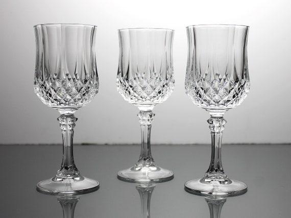 Crystal Wine Glasses, Cristal D'Arques-Durand, Longchamp, Cut Crystal, Set of 3, Barware