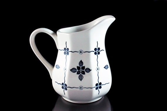 Creamer, J & G Meakin, Homespun, Ironstone, Blue Floral and Squares, Octagon, Pitcher