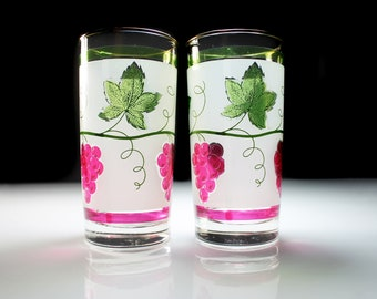 Grapevine Frosted Tumblers, Red Grapes, Green Leaves and Vines, Drinking Glasses, Set of 2, 12 Ounce