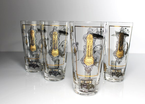 Osborne Kemper Thomas Tumblers, Titanic, Skyball, Iced Tea, Tom Collins, Black and 24K Gold, Set of 4, 12 Ounce, Drinking Glasses