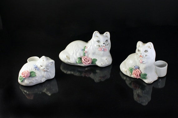 Cat Figurine, Mini Candle Holders, Raised Pink Rose, White, Set of 3, Collectible, Handpainted, Made in China