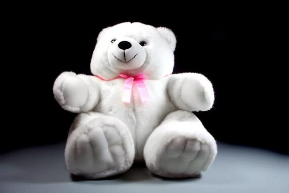 Stuffed Animal, Teddy Bear, Pot Belly Bear, America Wego, White Polar Bear, Fluffy, Soft, 18 Inch Bear, Sitting Bear, Nursery Decor