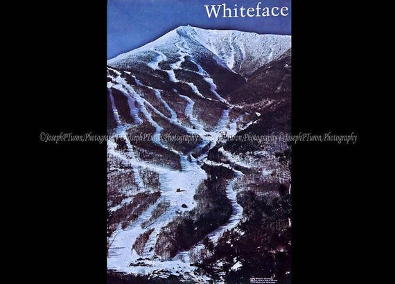 Vintage Poster, Whiteface Mountain, New York, Landscape Poster, Photography Poster, Skiing Poster, Color, Large, Adirondack Mt. Poster