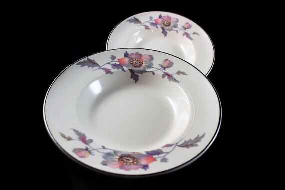 Fruit Bowls, Symphony by Salem, Platinum Gold, Floral Pattern, Set of 2, Serving Bowls, Porcelain