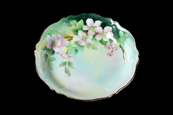 O&EG Royal China Bowl, Antique, Decorative Bowl, Pink Rose, Gold Trim, Serving Bowl, Embossed, Centerpiece, Display Bowl