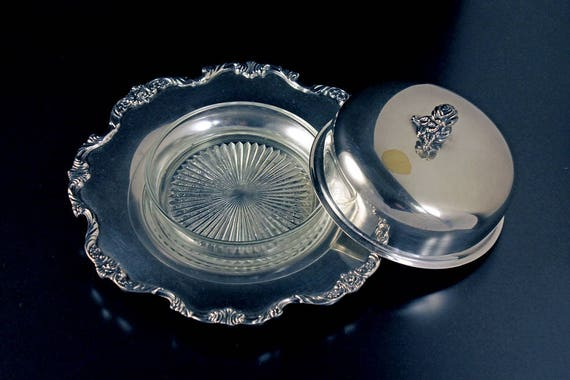 Silverplate Round Butter Dish, Wallace, Royal Rose, Glass Liner Included, Floral Pattern, Hard to Find