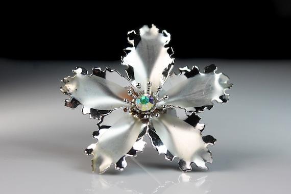 Aurora Borealis Rhinestone Brooch, Large Flower, Satin Silver Tone, C-Clasp Closure, Dimensional, Round Statement Brooch
