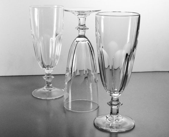 Crystal Champagne Flutes, Cristal D'Arques-Durand, Rambouillet, Set of 3, Paneled Sides, Discontinued, Barware