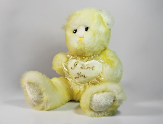 Yellow Teddy Bear, Goffa Interntaional, I Love You, Stuffed Animal, Fluffy, Soft, 17 Inch, Nursery Decor
