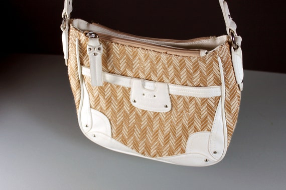 Shoulder Bag, Stone Mountain, Tote Bag, Faux Leather, Tan and White, Herringbone Pattern