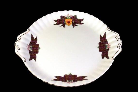 Cake Plate, Royal Albert, Scottish Tartan Series, Bone China, MacDonald Pattern, Tartan Ribbon, Florals