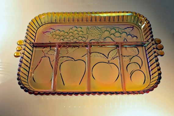 Divided Relish Dish, Indiana Glass, Fruits Amber, Carnival Glass, Amber Glass, Relish Tray