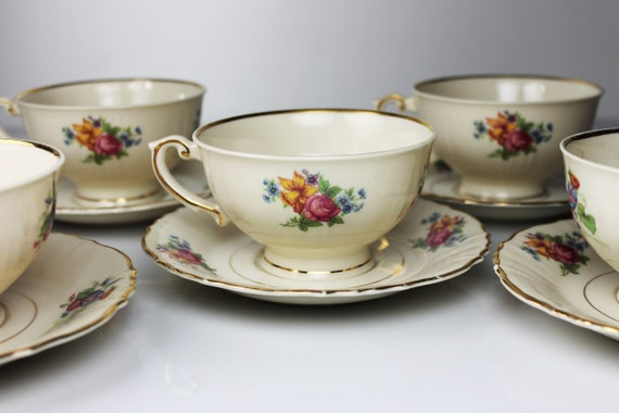 Cups and Saucers, Syracuse China, Santa Rosa, Set of 5, Floral Design, Teacups