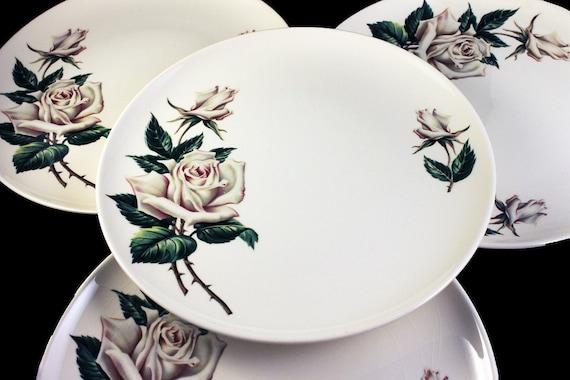 Dinner Plates, Universal Pottery, Ballerina, White Rose Pattern, Made in USA, Porcelain, Set of 4