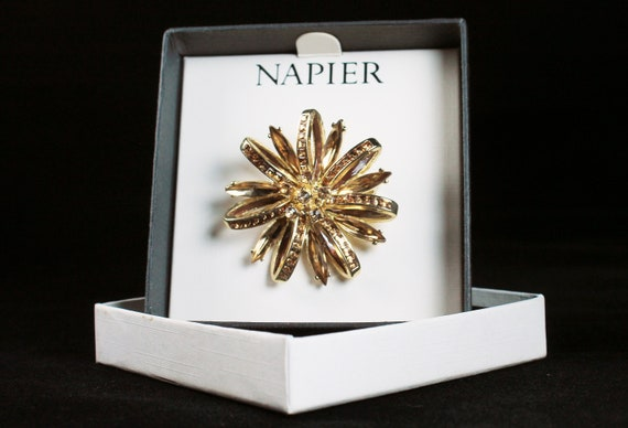 Napier Brooch, Brown Rhinestone,  Gold Tone, Fashion Pin, Costume Jewelry, Signed, Flower Design, Original Box